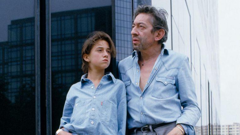 Charlotte en Serge Gainsbourg op 17 augustus 1985. Beeld null