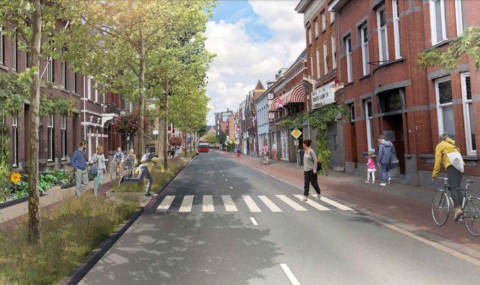 Wordt dit de nieuwe Brugstraat in Roosendaal? Met veel meer groen en minder auto's.