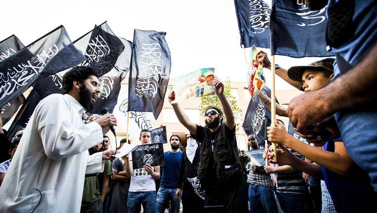 Pro-IS demonstratie in de Haagse Schilderswijk Beeld ANP