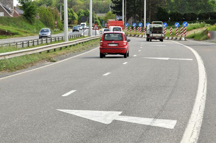 De wegversmalling in Nukerke, waar de N60 nog moet doorgetrokken worden.