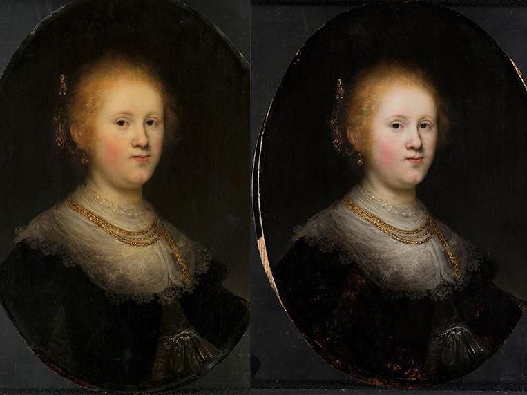 Rembrandts 'Portret van een jonge vrouw' voor en na de restauratie.