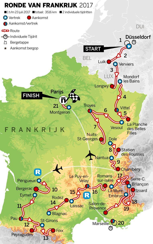 Het etappeoverzicht van de Tour de France 2017. Beeld null
