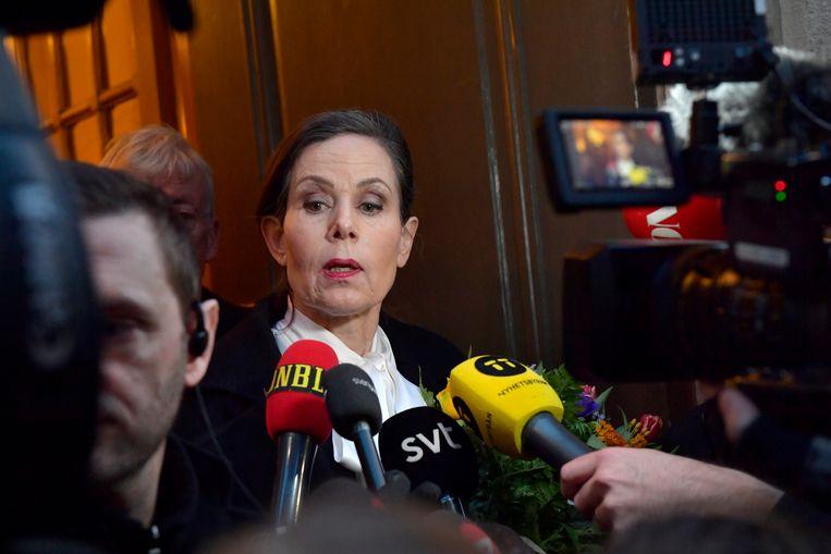 Sara Danius maakt bekend dat ze haar functie neerlegt. Beeld EPA
