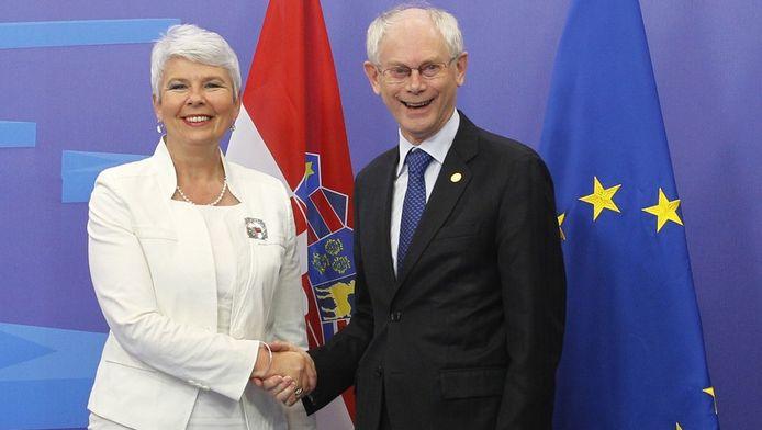 Herman Van Rompuy verwelkomt de Kroatische premier Jadranka Kosor tot de EU.