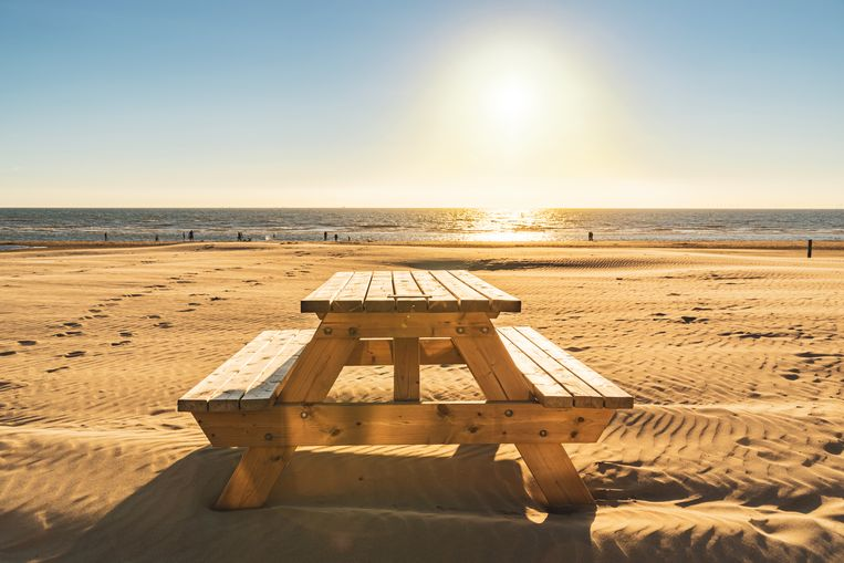 This is a photo of an empty wooden table with seat bench at the beach. It was shot on a warm summer day on the Dutch coast. Beeld Getty Images