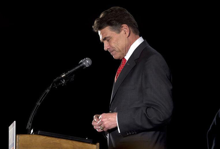 Rick Perry heeft zijn nederlaag al toegegeven. Hij kon slechts tien procent van het kiespubliek bekoren. Beeld AP