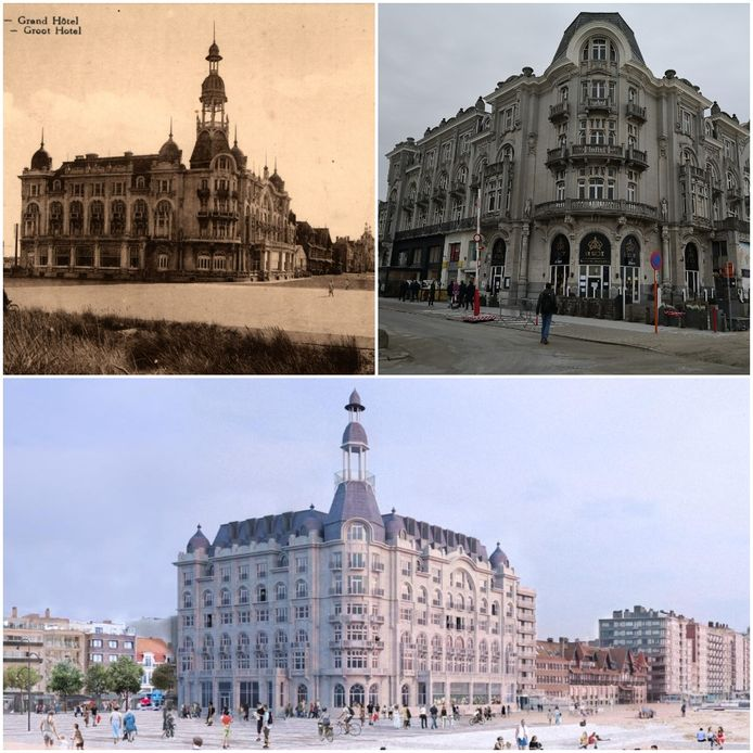 Deze collage toont hoe het gebouw is 'gegroeid' van de jaren '20 over nu tot binnen een paar jaar