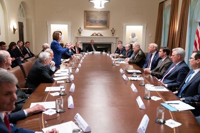 Craigheads bekendste foto is die waarop Trump tijdens een vergadering in het Witte Huis bestraffend wordt toegesproken door de partijleider van de Democraten, Nancy Pelosi. Beeld White House via Getty Images