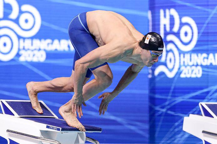 Stan Pijnenburg afgelopen mei in actie op de 100 meter vrije slag tijdens de EK zwemmen in Boedapest.
