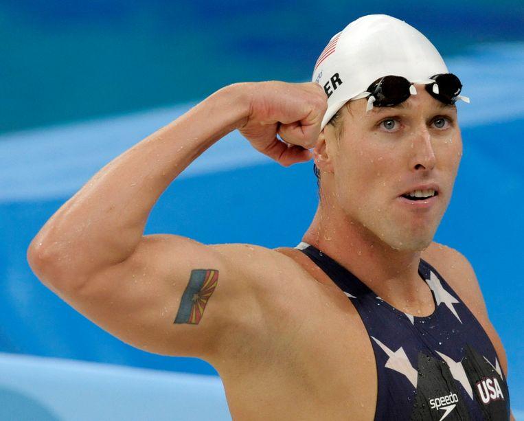Klete Keller op de Olympische Spelen van 2008 in Beijing, waar hij zijn tweede gouden medaille op de 4x200 meter veroverde. Beeld AP