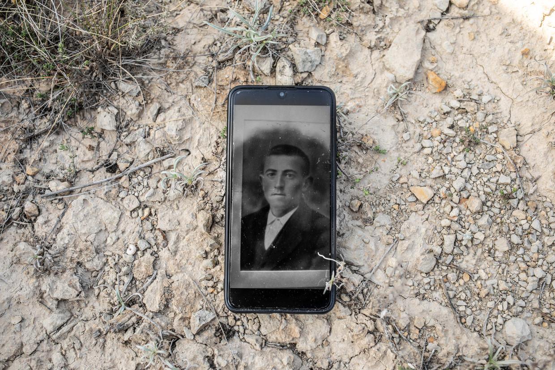Het portret van José Cansado Lamata, de vader van Jesús Cansado, wiens lichaam werd bijgezet in het praalgraf van dictator Francisco Franco. Beeld César Dezfuli