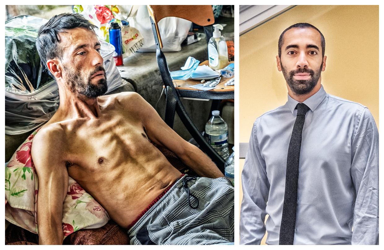 Een van de hongerstakers en staatssecretaris voor Asiel en Migratie Sammy Mahdi (CD&V) Beeld Tim Dirven