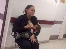 Argentijnse agente geeft borstvoeding aan baby in nood