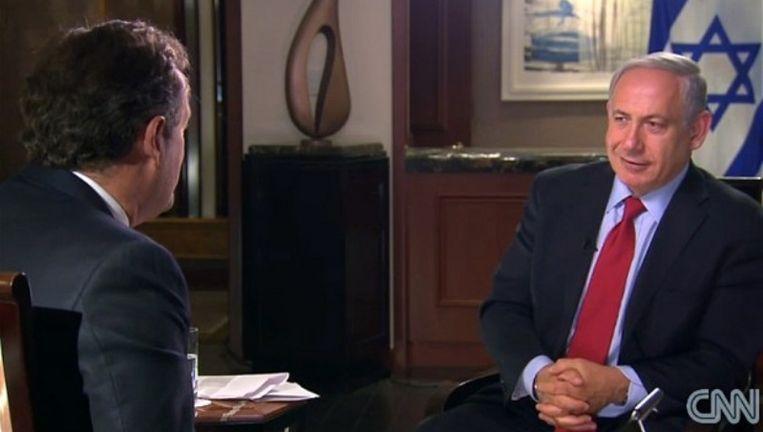 CNN-journalist Pierce Morgan in gesprek met de Israëlische premier Benjamin Netanjahoe. Beeld Screenshot CNN