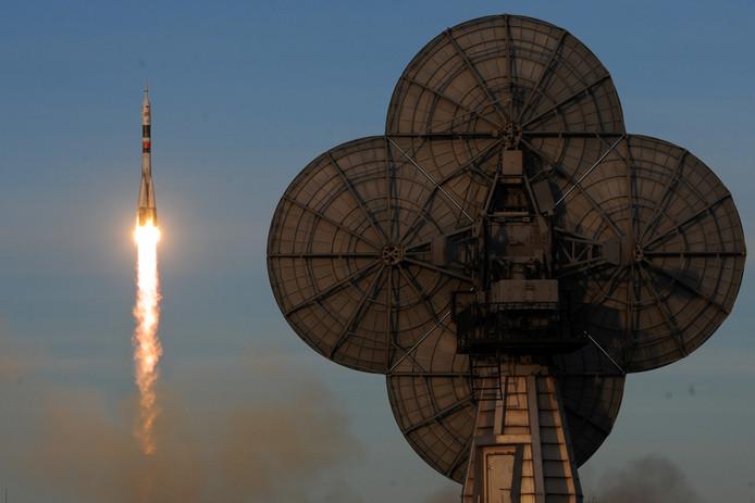 Vanaf ruimtebasis Bajkonoer in Kazachstan ging de Sojoez-raket op weg naar ISS.