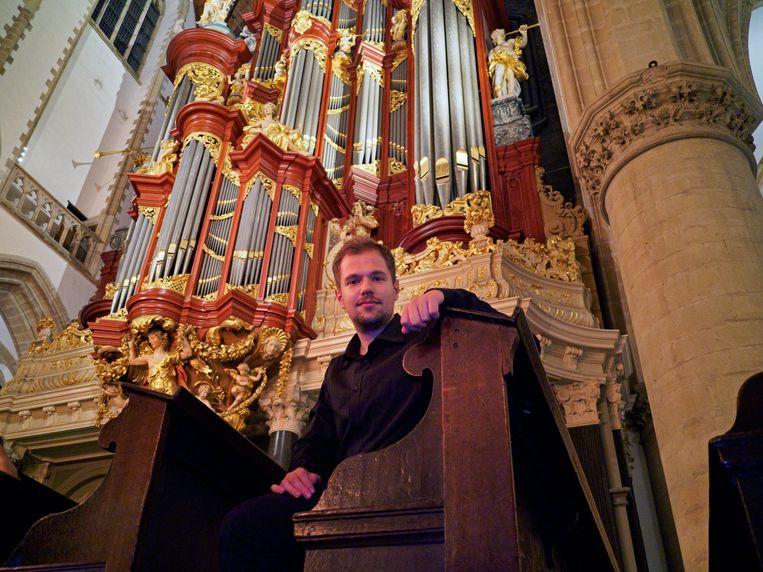 Gabriele Agrimonti, de winnaar van het Internationaal Improvisatieconcours in Haarlem. Beeld Cor van Gastel