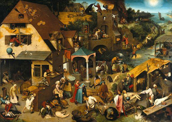 Tijdens de voorstelling verbeeldt Selle de Vos met woorden wat Bruegel met verf en schildertalent geschilderd heeft.