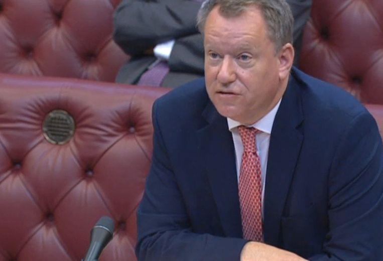 De Britse minister van brexit David Frost in het Hogerhuis in Londen, waar hij vertelde dat hij opnieuw met de EU wil onderhandelen.  Beeld AFP