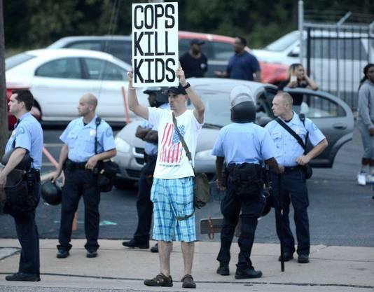 Een actievoerder in Ferguson.