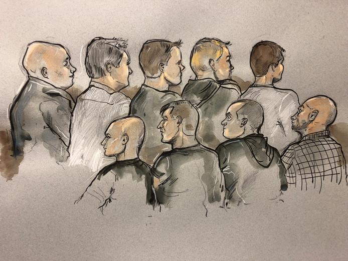 Rechtbanktekening van verdachten Rechtszaak drugslabs in de regio Westland, Den Haag, Zoetermeer dinsdag 16 oktober 2018