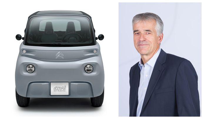 Vincent Cobée, de nieuwe ceo van Citroën, naast de nieuwe Ami.