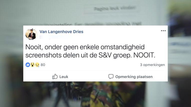 Screenshot uit de 'Pano'-reportage waaruit blijkt dat leider Dries Van Langenhove zich zorgen maakt dat de inhoud van de besloten Facebook-groep van Schild & Vrienden uitlekt naar de buitenwereld.  Beeld RV VRT