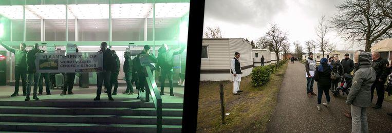 Voorpost (links) protesteerde tegen de toestanden aan asielcentrum Parelstrand (rechts)