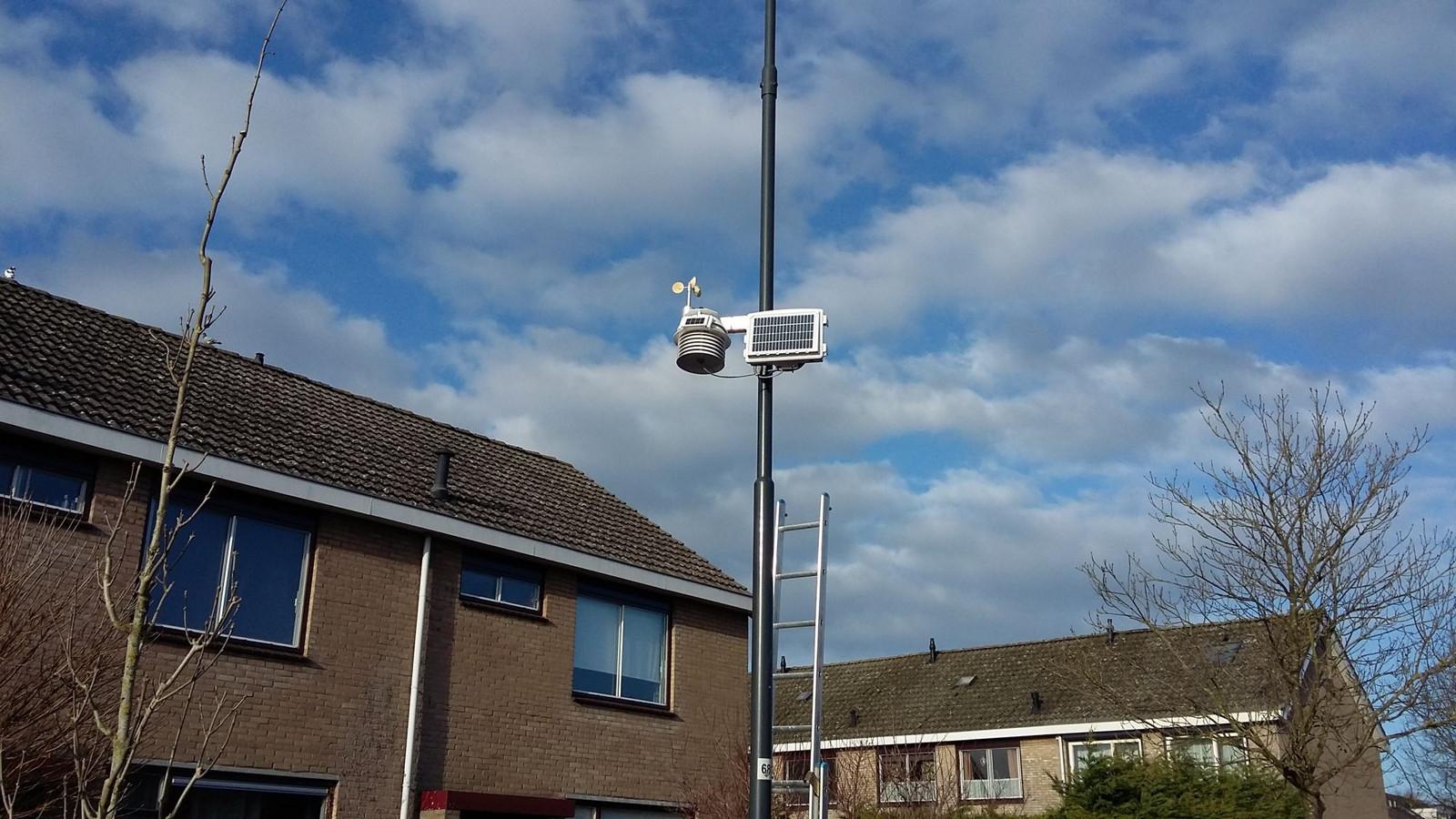 Met meetapparatuur aan lantaarnpalen op diverse plaatsen in Zeeland worden wind, temperatuur, straling en luchtvochtigheid gemeten.
