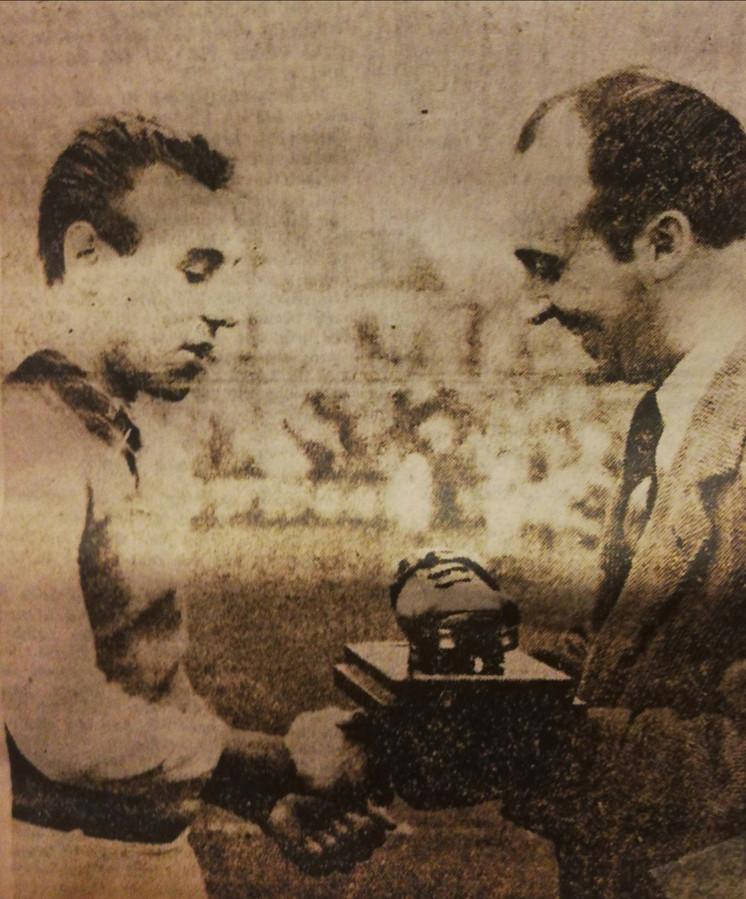Rik Coppens ontving de allereerste Gouden Schoen.