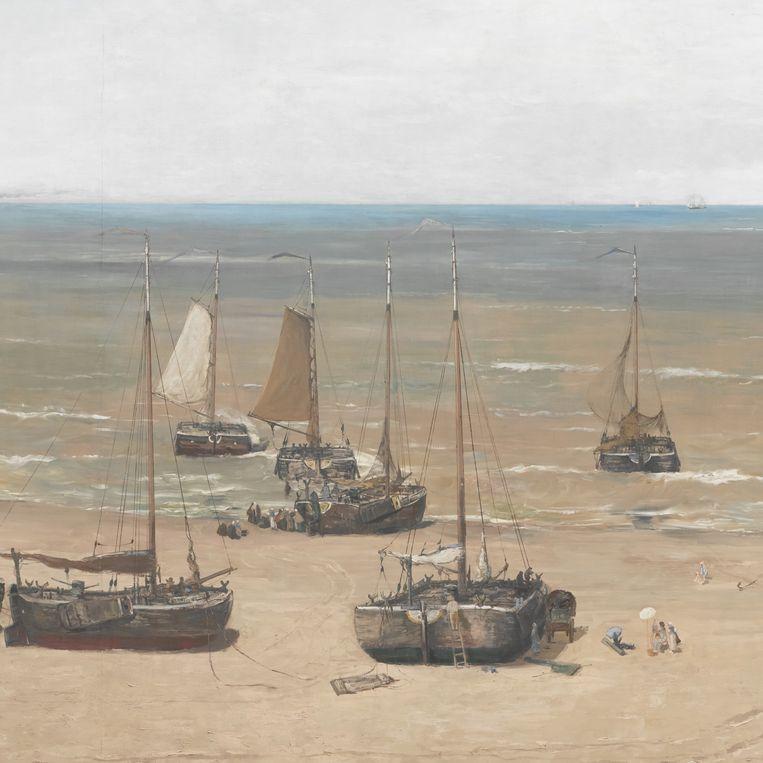 Sientje Mesdag-van Houten werd door haar echtgenoot vereeuwigd op het panorama; ze staat te schilderen op het strand. Beeld Museum Panorama Mesdag, Den Haag