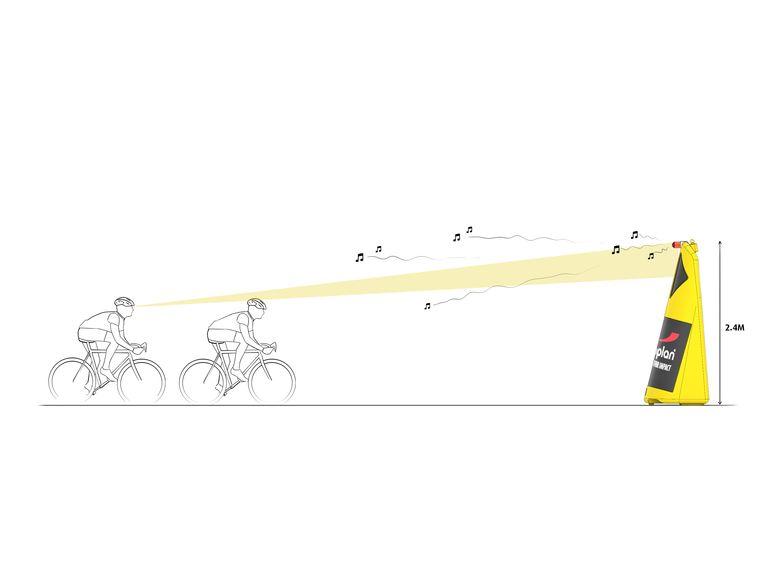 Deze 'safety totems' moeten valpartijen voorkomen op E3 Harelbeke. Ze geven ook licht- en geluidssignalen af.