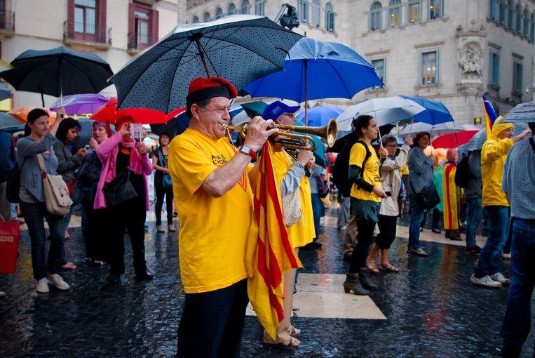 Demonstratie in Barcelona voor een onafhankelijk Catalonië, 30 september. Beeld  Sergi Escribano / Demotix