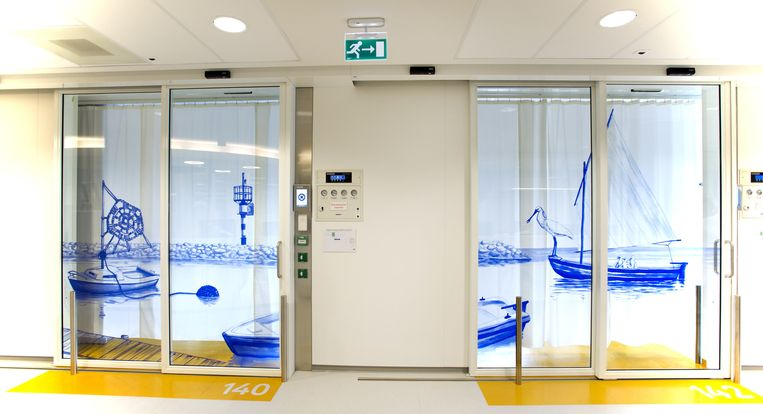De buitenkant van kamers van de vernieuwde afdeling Intensive Care Kinderen (ICK) van het Emma Kinderziekenhuis AMC. Beeld anp