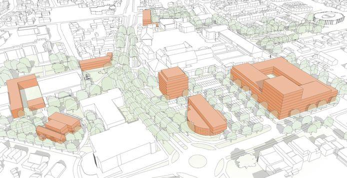 Schetsen van de nieuwbouwplannen in Malden.