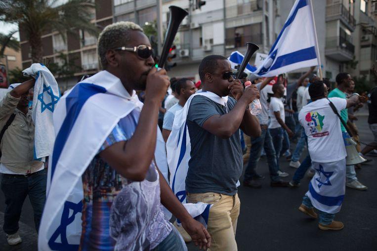 Israëli's met Ethiopische roots demonstreerden in 2015 tegen politiegeweld en racisme. Beeld AFP