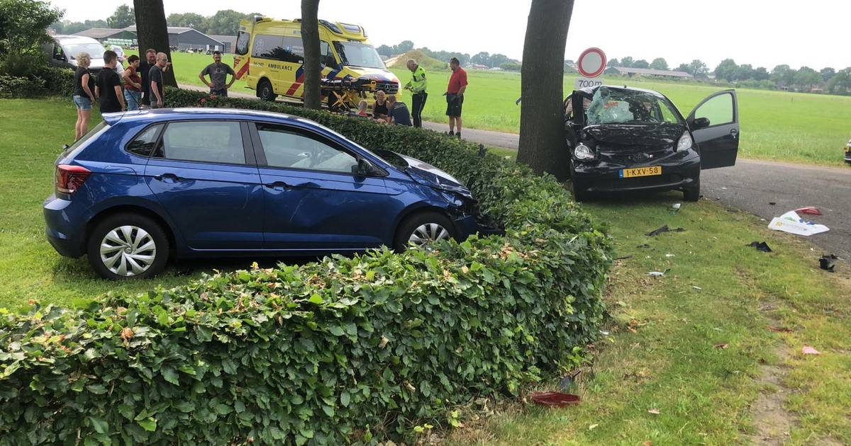 Flinke aanrijding in Dalfsen: gelanceerde auto komt in tuin tot stilstand.
