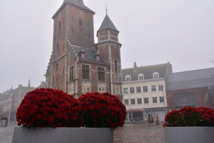 De uitgegooide chrysanten werden zondagvoormiddag door omwonenden opnieuw in de bloembakken geplaatst op de Markt van Tielt.