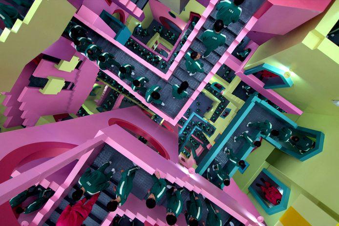 Een scène uit de populaire serie Squid Game.