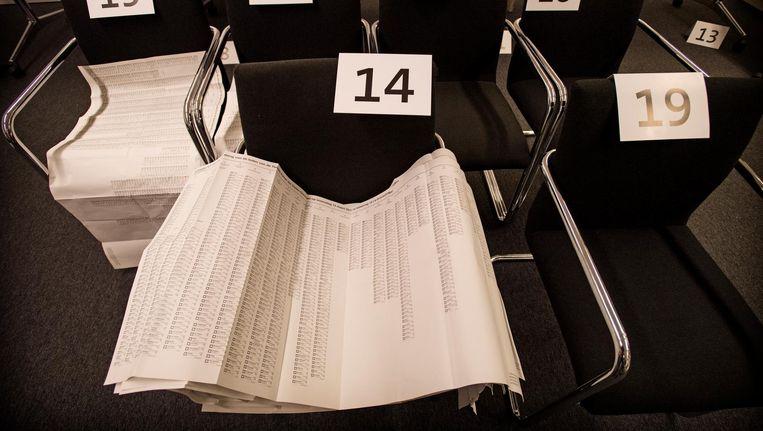 Stembiljetten worden gesorteerd en geteld. Beeld anp