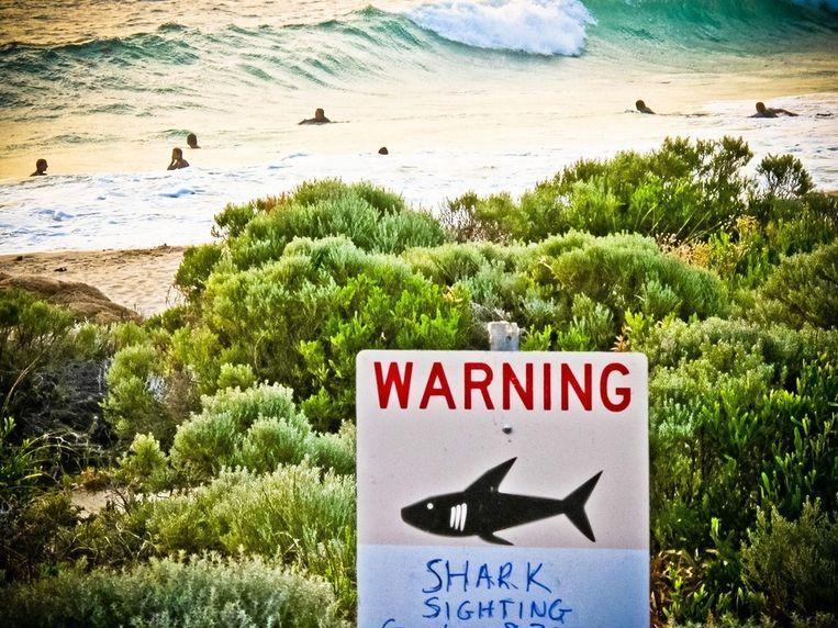 Een waarschuwingsbord bij een strand in West-Australië Beeld EPA