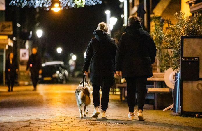 Mensen laten hun hond uit in de avond.