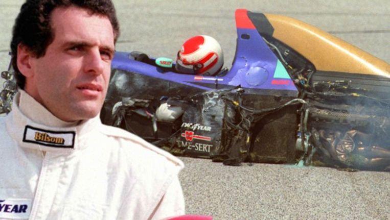 Roland Ratzenberger zit roerloos in zijn bolide. De Oostenrijker overleed op weg naar het ziekenhuis.