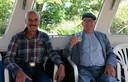 Fred met een goede vriend in een rondvaartboot op de Nieuwkoopse Plassen