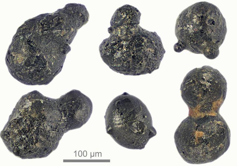 Brokstukjes die vrijkwamen na de meteorietinslag bij het zogeheten Sør Rondane-gebergte in Antarctica.  Beeld Scott Peterson