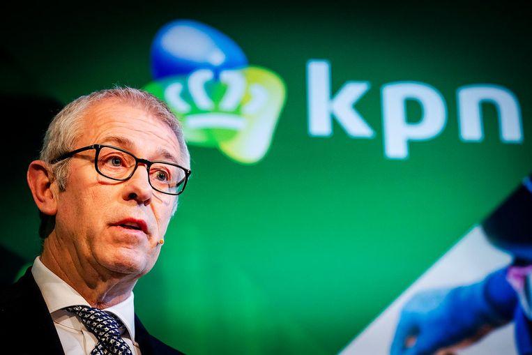 Topman Eelco Blok van KPN woensdagochtend bij de presentatie van de jaarcijfers van KPN in het Olympisch Stadion Beeld anp