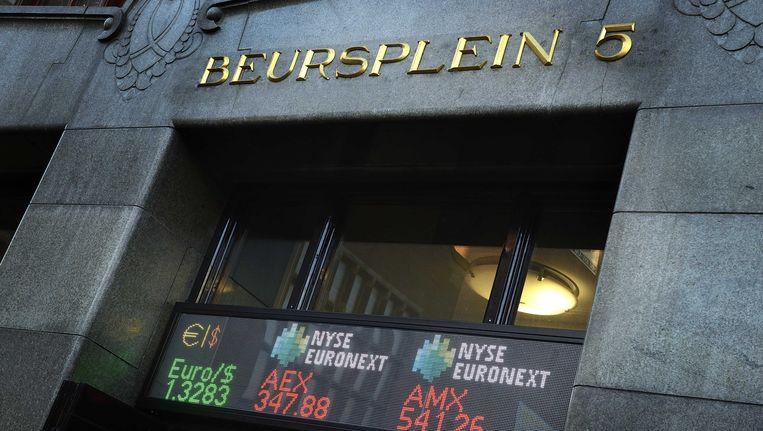 De entree van de Amsterdamse beurs op 2 januari Beeld ANP