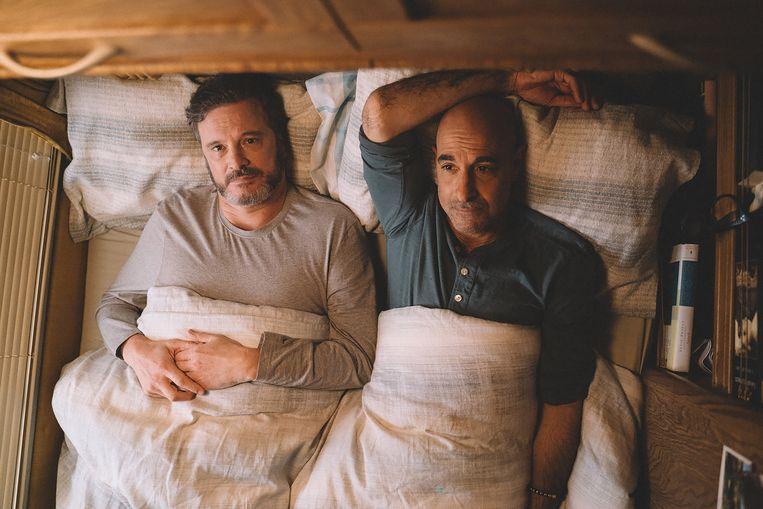 Colin Firth en Stanley Tucci zijn fenomenaal als Sam en Tusker, die in Supernova samen hun weg moeten vinden in een leven dat langzaam uit hun handen glijdt.  Beeld Filmdepot
