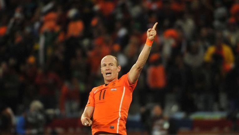 Robben viert de overwinning op Uruguay in de halve finale van de WK in Zuid-Afrika. Beeld anp