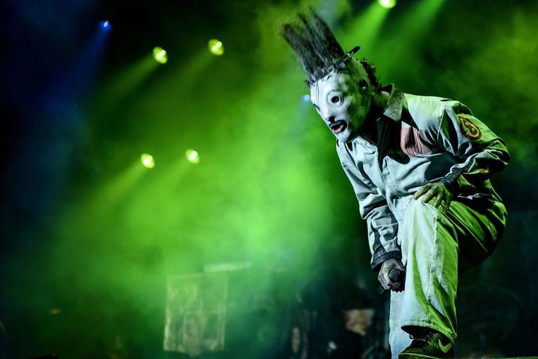 Frontman Corey Taylor van Slipknot op het Deense festival Roskilde in 2013. Beeld null