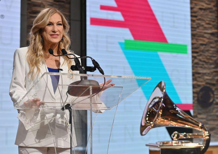 Ex-CEO van de Recording Academy, Deborah Dugan, tijdens de 62e Grammy Awards Nominations Conference in het CBS Broadcast Center in New York City. Beeld AFP